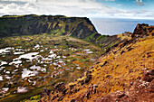 EASTER ISLAND, CHILE, Isla de Pascua, Rapa Nui, Rano Kau's crater, Birdman Crater, which is one of three natural bodies of fresh water on the island