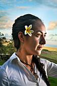 EASTER ISLAND, CHILE, Isla de Pascua, Rapa Nui, Natalie a local Rapa Nui woman