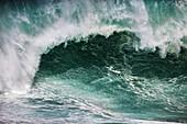 HAWAII, Oahu, North Shore, Eddie Aikau, 2016, big waves seen crashing during the Eddie Aikau 2016 surf competition, Waimea Bay