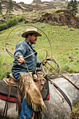 USA, Oregon, Joseph, Cowboy Todd Nash moves his cattle from the Wild Horse Creek up Big Sheep Creek to Steer Creek