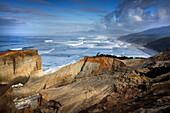 USA, Oregon, Pacific City, a view down the coastline of Pacific City Beach