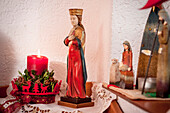 figure of Virgin Mary, Catholic, Christian, tradition, ancient customs, Advent, Advent season, Bavaria, Germany, Europe