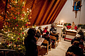 evensong, service, Christmas tree, figure of Virgin Mary, Catholic, Christian, tradition, ancient customs, Advent, Advent season, Bavaria, Germany, Europe