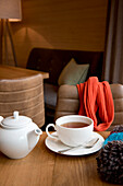 cup of tea, wooden room, winterly interior, warmness, the Alps, South Tyrol, Trentino, Alto Adige, Italy, Europe