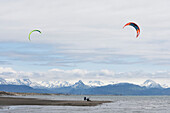Kite Surfers Along The Homer Spit, Kachemak Bay, Kenai Peninsula, Southcentral Alaska, USA