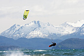 Kite Surfer In Kachemak Bay Near Homer, Southcentral Alaska, USA