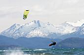 Kite Surfer In Kachemak Bay Near Homer, Southcentral Alaska, USA