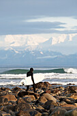 Surfer On The Beach Near Yakutat, Southeast Alaska, USA