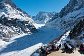 Observation Balcony With Restaurant Patio Overlooking Mer De Glace Glacier And Mont Blanc Massif; Montenvers, France