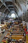 Market Hall, Interior With Reinforced Concrete Arches And Stalls; Wroclaw, Poland