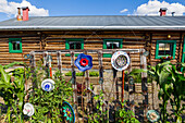 Decorations adorn a garden outside the Sullivan Roadhouse Historical Museum; Delta Junction, Alaska, United States of America