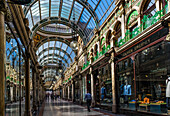 Historic shopping arcade, County Arcade, built in 1897-1900, now part of Leeds' Victoria Quarter; Leeds, West Yorkshire, England