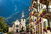St Michel Church in Chamonix city centre; Chamonix-Mont-Blanc, Haute-Savoie, France