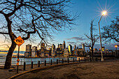 Lower Manhattan Skyline At Twilight, Remsen Street Cul-De-Sac; Brooklyn, New York, United States Of America