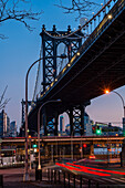 Manhattan Bridge At Sunset; New York City, New York, United States Of America