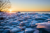 Ice Chunks On Lake Superior; Thunder Bay, Ontario, Canada