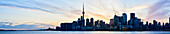 Skyline Of Downtown Toronto And Lake Ontario At Sunset; Toronto, Ontario, Canada