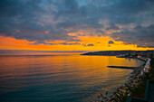 Coastline Of The French Riviera Along The Mediterranean Sea At Sunset; Menton, Cote D'azur, France