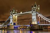 Tower Bridge At Night; London, England
