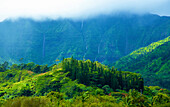 Lush foliage on the mountains of Kauai and water flowing from the steep cliffs under a cloudy sky; Hanalei, Kauai, Hawaii, United States of America