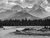 Black and white landscape of the rugged Canadian rocky mountains with a forest and a flowing river in the foreground; Invermere, British Columbia, Canada
