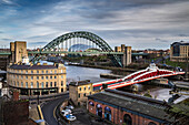 View along the River Tyne to see the bridges and buildings; Newcastle Upon Tyne, Tyne and Wear, England