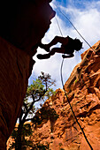 Looking upwards to the silhouette of an adventurer rappelling down a canyon in the desert; Hanksville, Utah, United States of America