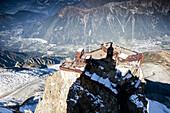 Aiguille du Midi peak arrival platform seen from highest vantage point, Chamonix Mont-Blanc, Haute Savoie, France