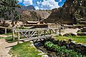Ancient Inca site at Ollantaytambo in Sacred Valley of the Incas, Cusco Region, Peru