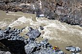 High angle view of people kayaking in Zanskar River, Ladakh Region, Jammu and Kashmir, India