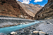 Majestic natural scenery with turquoise stream feeding into Zanskar River, Ladakh Region, Jammu and Kashmir, India