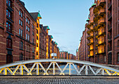Historic warehouse buildings in Speicherstadt quarter at sunset, UNESCO World Heritage Site, hafencity, Hamburg, Germany
