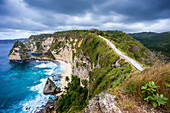 Scenery of cliffs on coastline, Nusa Penida, Bali, Indonesia