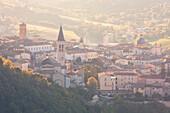 Europe,Italy,Umbria,Perugia district, Spoleto, Spoleto at sunset