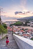 Tropea, Province of Vibo Valentia, Calabria, Italy, The harbor of Tropea at dawn seen from Scalinata della Munizione