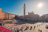 Siena, Tuscany, Italy, Europe, Panoramic view of Piazza del Campo with the historical Palazzo Pubblico and its Torre del Mangia
