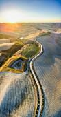 Podere Baccoleno, Asciano, Crete senesi, Tuscany, Italy, Aerial view of the iconic Podere Baccoleno