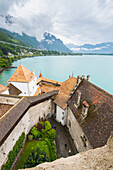 Leman lake viewed from the tower of Chillon castle, Canton of Vaud, Switzerland, Swiss alps