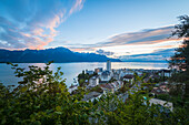Montreux in the sunset, Canton of Vaud, Switzerland, Swiss alps
