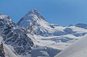 The summit of Dent d'Herens and glaciers of Swisse Alps near Zermatt, Suisse