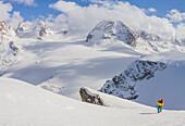 Ski touring in swiss mountains at Pointe des Vignettes, Switzerland