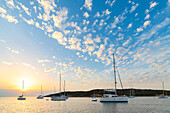 Sailing boats at sunrise (Cala Portese, Caprera Island, Archipelago of La Maddalena National Park, Sassari province, Sardinia, Italy, Europe)