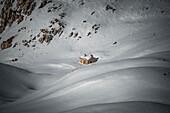 Rifugio Garibaldi in the snow, Campo Imperatore, Teramo province, Abruzzo, Italy, Europe