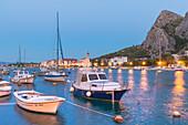 Omis, boats on the Cetina River, Dalmatia, Adriatic Coast, Croatia