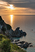 Zambrone, province of Vibo Valentia, Calabria, Italy, Europe, Sunset on the beach of Lion's rock