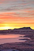 Sunrise on the snowy landscape, Bjorkliden, Abisko, Kiruna Municipality, Norrbotten County, Lapland, Sweden