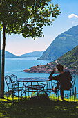 Relax view over Iseo lake Brescia province in Lombardy district, Italy, Europe