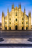 View of the square and the gothic Duomo, the icon of Milan, Lombardy, Italy, Europe