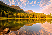 Europe, Italy, Trentino Alto Adige, Moena, Dolomites, the alpine lake of San Pellegrino