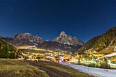 Italy, Trentino Alto Adige, Sudtyrol, province of Bolzano, Corvara village in Badia valley by night